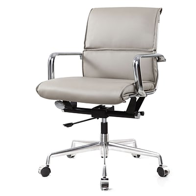 Meelano M330 Genuine Vegan Leather executive Office Chair; Grey (330-GRY)
