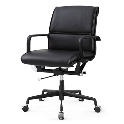 Meelano M330 Genuine Vegan Leather executive Office Chair; All Black (330-DRK)