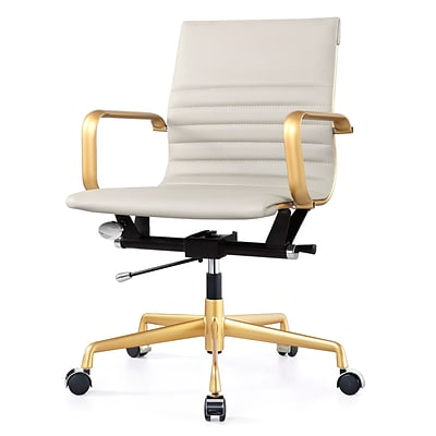 Meelano Gold M348 Genuine Vegan Leather Executive Office Chair; Grey (348-GD-GRY)