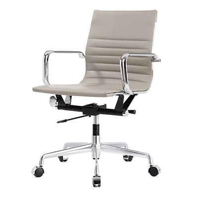 Meelano M348 Genuine Vegan Leather Executive Office Chair; Grey (348-GRY)