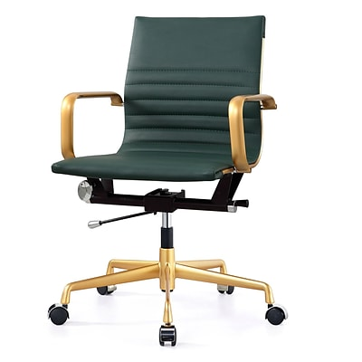Meelano Gold M348 Genuine Vegan Leather Executive Office Chair; Hunter Green (348-GD-GRN)