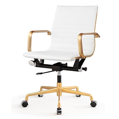 Meelano Gold M348 Genuine Vegan Leather Executive Office Chair; White (348-GD-WHI)
