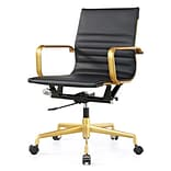 Meelano Gold M348 Genuine Vegan Leather Executive Office Chair; Black (348-GD-BLK)