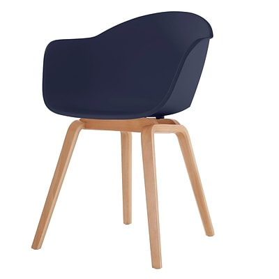 Meelano M18 Chair in Molded Plastic with Beech Wood Base (Set Of Two) (18-NVY)