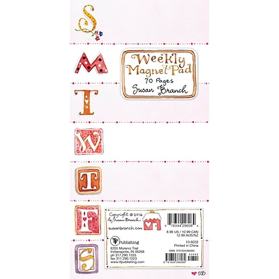 TF Publishing 8 x 4 Susan Branch 70 page Magnetic List Pad   (10-6033)