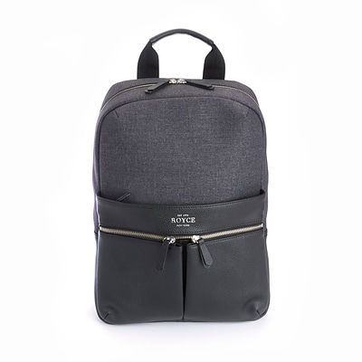 Royce Leather Black Genuine Leather Power Bank Charging Backpack (686-BLGY-4)