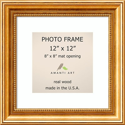 Amanti Art  Townhouse Gold Wood Photo Frame 12 x 12, Matted to 8 x 8 15 x 15-inch (DSW1385316)