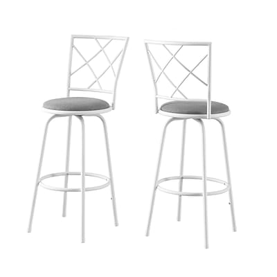 Monarch Specialties 29.5H White and Grey Barstool 2pcs Set ( I 2377 )
