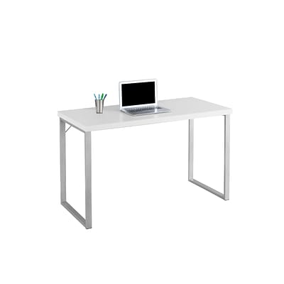 Monarch Specialties Computer Desk 48L in White and Silver Metal