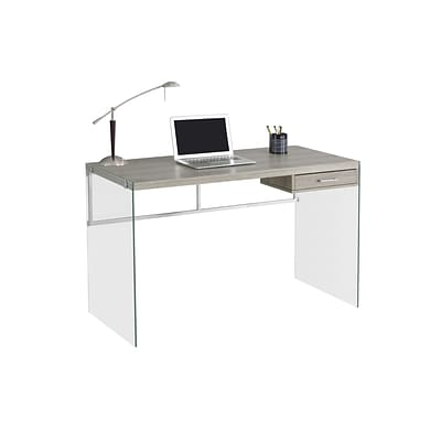 Monarch Specialties Computer Desk 48L Dark Taupe and Tempered Glass ( I 7207 )