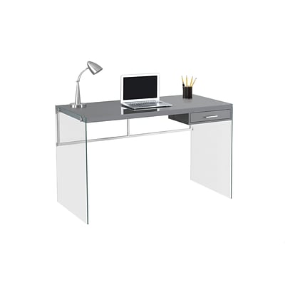 Monarch Specialties Computer Desk 48L Glossy Grey With Tempered Glass ( I 7208 )