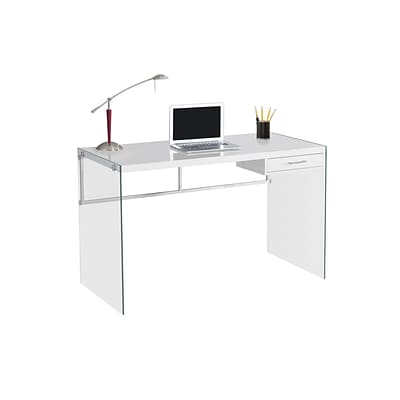 Monarch Specialties Computer Desk 48L Glossy White and Tempered Glass ( I 7209 )
