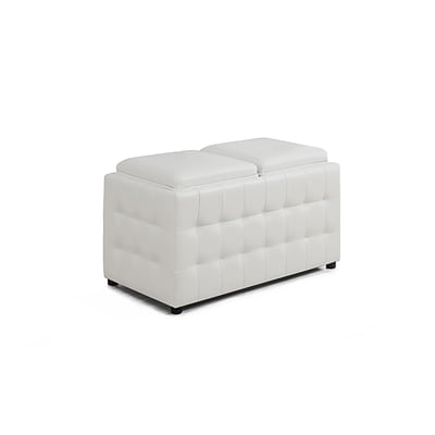 Monarch Specialties White Leather-Look Ottoman With Storage
