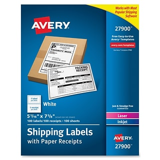Avery Paper Receipt White Shipping Labels, Permanent Adhesive, 100 Label, 5Wx7.5L, 1/Sheet, Rectan