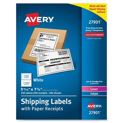 Avery Paper Receipt White Shipping Labels, Permanent Adhesive, 250 Label, 5Wx7.5L, 1/Sheet, Rectangle, Laser, Inkjet, 250/BX