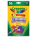 Crayola Erasable Colored Pencils, 3.3 mm Lead Diameter, Thick Point, Assorted Lead, 36/Each