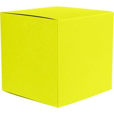 LUX® Medium Cube Gift Boxes, 3 17/32 x 3 9/16 x 3 17/32, Citrus Yellow, 10 Qty (MCUBE-L20-10)