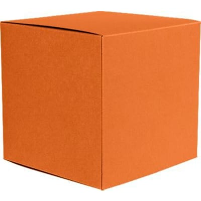 LUX® Medium Cube Gift Boxes, 3 17/32 x 3 9/16 x 3 17/32, Mandarin Orange, 500 Qty (MCUBE-11-500)