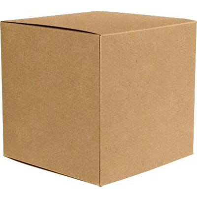 LUX® Small Cube Gift Boxes, 2 5/32 x 2 1/8 x 2 5/32, 18 pt. Grocery Bag Brown - 100% Recycled, 50 Qty (SCUBE-GB-50)