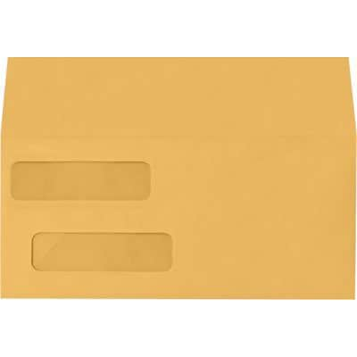 LUX Double Window Invoice Envelopes (4 1/8 x 9 1/8) 1000/Box, 28lb. Brown Kraft (INVDW-28BK-1M)