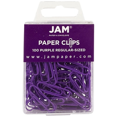 JAM Paper® Vinyl Colored Standard Paper Clips, Small, Purple, 100/Pack (2183753)