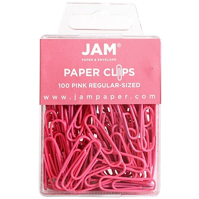 JAM Paper® Vinyl Colored Standard Paper Clips, Small, Pink, 100/Pack (42186872)