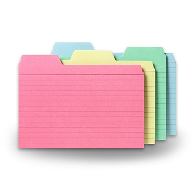 Find It®, Tabbed Index Cards, 4x 6,  48/Pack, Assorted Colors (FT07218)