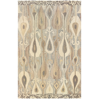 StyleHaven Transitional Ikat Wool 8X 10 Grey/Beige Area Rug (WANA680008X10L)