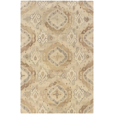 StyleHaven Transitional Ikat Wool 5X 8 Beige/Ivory Area Rug (WANA680035X8L)