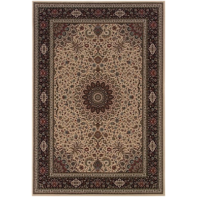 StyleHaven Traditional Polypropylene 53 X 79 Ivory/Black Area Rug (WARI095I85X8L)
