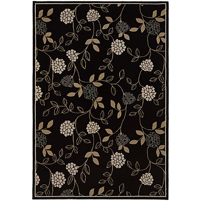 StyleHaven Transitional Floral Polypropylene 4X 59 Black/Green Area Rug (WARI2285G4X6L)