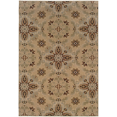 StyleHaven Transitional Floral Polypropylene 4X 59 Gold/Green Area Rug (WARI2313A4X6L)