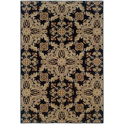StyleHaven Transitional Floral Polypropylene 67 X 96 Black/Green Area Rug (WARI2313B6X9L)