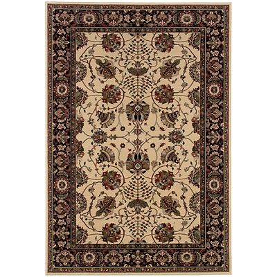 StyleHaven Traditional Floral Polypropylene 67 X 96 Ivory/Black Area Rug (WARI431I86X9L)