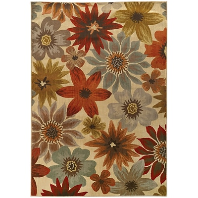 StyleHaven Transitional Floral Nylon/Polypropylene 53 X 76 Beige/Blue Area Rug (WCAB5190A5X8L)
