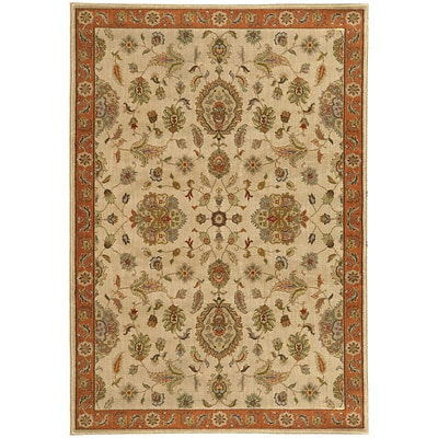 StyleHaven Traditional Floral Nylon/Polypropylene 53 X 76 Beige/Rust Area Rug (WCAB5317B5X8L)