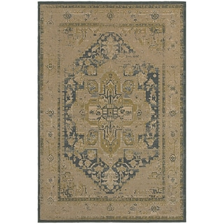 StyleHaven Antiqued Polypropylene 67X96 Tan/Blue Area Rug