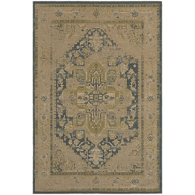 StyleHaven Antiqued Polypropylene 710X1010 Tan/Blue Area Rug (WCLO4694A8X11L)