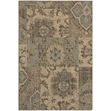 StyleHaven Casual Distressed Patchwork Polypropylene 310 X 55 Tan/Blue Area Rug