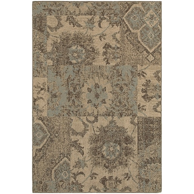 StyleHaven Casual Distressed Patchwork Polypropylene 310 X 55 Tan/Blue Area Rug (WCLO4712K4X6L)