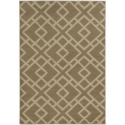 StyleHaven Transitional Geometric Polypropylene 53 X 73 Grey/Beige Area Rug (WELA3685G5X8L)