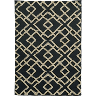 StyleHaven Transitional Geometric Polypropylene 67 X 96 Navy/Beige Area Rug (WELA3685H6X9L)