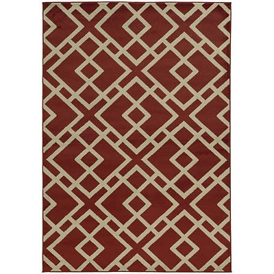 StyleHaven Transitional Geometric Polypropylene 53 X 73 Red/Light Grey Area Rug (WELA3685J5X8L)