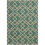 StyleHaven Geometric Polypropylene 67 X 96 Blue/Light Grey Area Rug