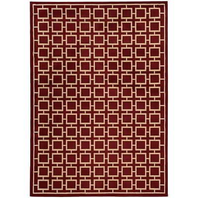 StyleHaven Transitional Geometric Polypropylene 67 X 96 Red/Beige Area Rug (WELA3885A6X9L)