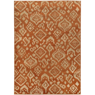 StyleHaven Transitional Tribal Ikat Polypropylene 67 X 96 Orange/Beige Area Rug (WELA5113C6X9L)