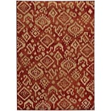 StyleHaven Transitional Tribal Ikat Polypropylene 710 X 10 Red/Beige Area Rug (WELA5113D8X10L)