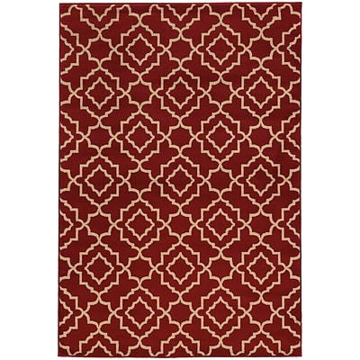 StyleHaven Transitional Geometric Lattice Polypropylene 710X10 Red/Beige Area Rug WELA5185E8X10L