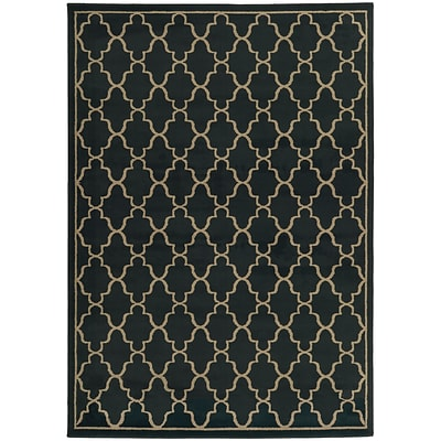 StyleHaven Geometric Lattice Polypropylene 67X96 Navy/Light Grey Area Rug (WELA5186I6X9L)