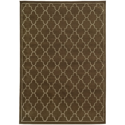 StyleHaven Transitional Geometric Lattice Polypropylene 53X73 Brown/Beige Area Rug WELA5186S5X8L